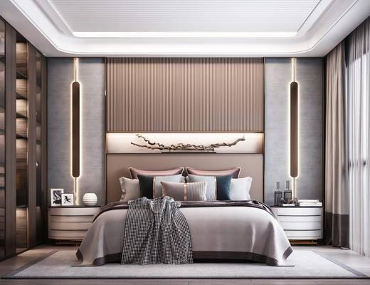 双人床, 壁灯, 衣柜, 床头柜, 床具组合