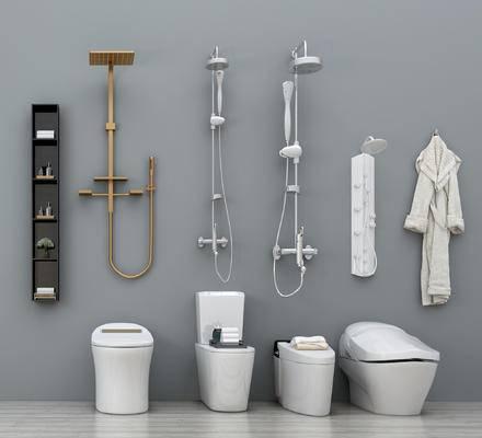 现代卫浴小件组合, 蹲厕, 花洒, 洗浴小件, 置物架