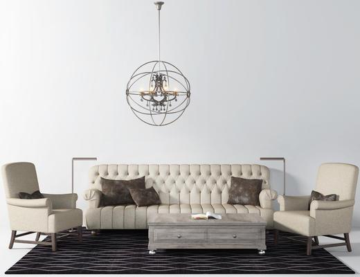 沙发组合, 沙发茶几组合, 美式沙发