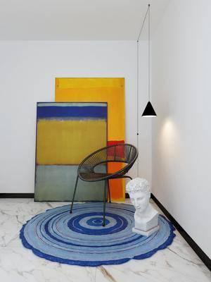 单人椅, 休闲椅, 装饰画, 挂画, 吊灯, 雕塑, 现代