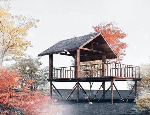 木亭子, 观景台, 茅草亭, 木屋, 建筑