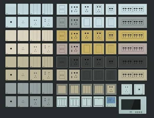 电源开关, 插座, 电源插座, 开关, 构件