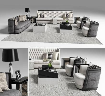 现代沙发茶几台灯摆件组合3D模型, 简欧风格, 沙发组合, 简欧
