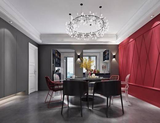 现代餐厅, 现代, 餐厅, 现代吊灯, 门, 椅子, 花瓶