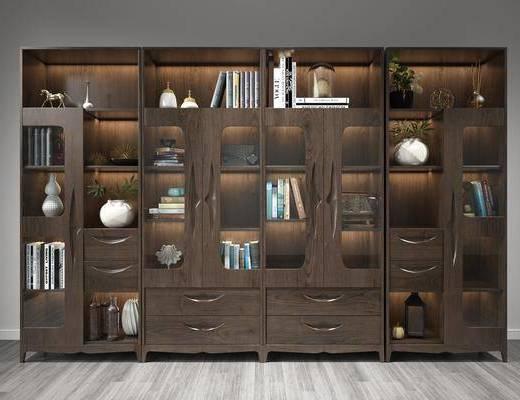 书架, 装饰柜架, 书籍, 柜架组合