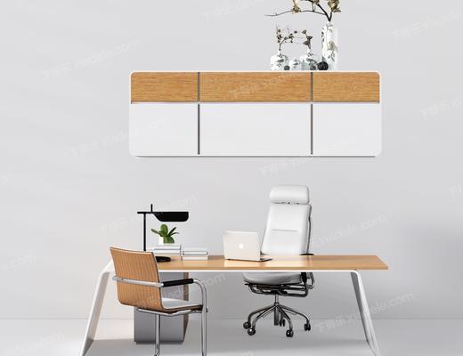 办公桌, 椅子, 办公椅, 单椅, 置物柜, 摆件, 台灯, 现代办公桌, 现代