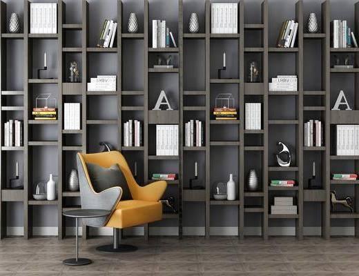柜架组合, 单椅, 书柜, 书架