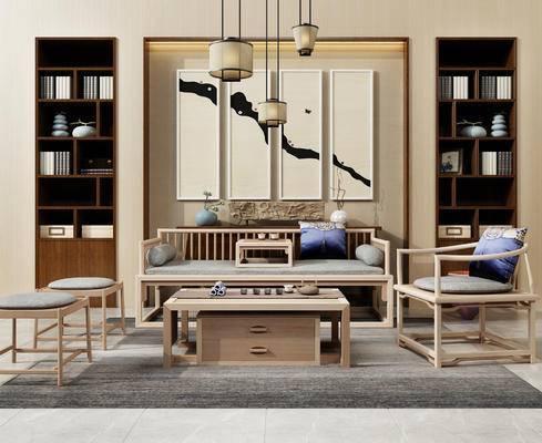 沙发, 书柜, 吊灯, 挂画, 新中式, 中式, 装饰画, 茶几, 沙发组合, 沙发茶几组合