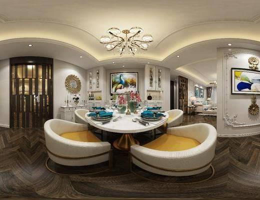 客厅, 餐厅, 餐桌, 餐椅, 单人椅, 餐具, 吊灯, 边柜, 装饰画, 挂画, 墙饰, 家装全景, 欧式