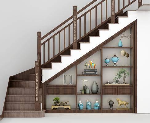 新中式楼梯, 置物柜, 摆件, 新中式摆件, 花瓶