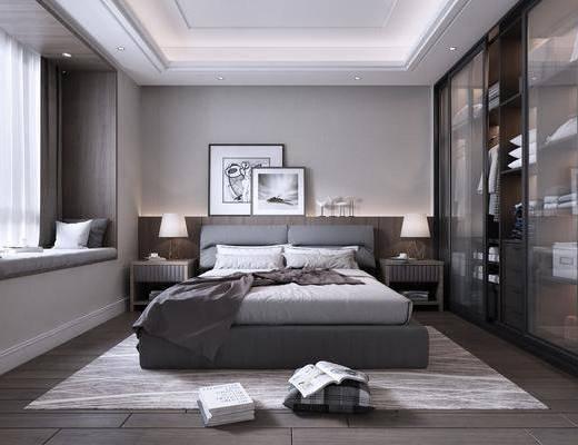 卧室, 双人床, 床头柜, 台灯, 装饰画, 衣柜, 服饰, 抱枕, 摆件, 装饰品, 陈设品, 现代