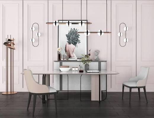 餐桌, 桌椅组合, 吊灯, 边柜, 柜架组合
