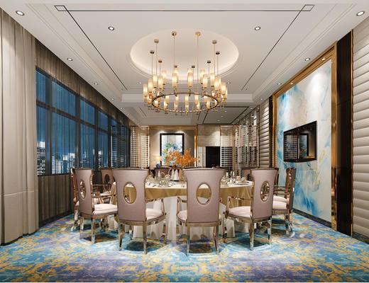 餐厅, 中式餐厅, 吊灯, 包房, 包间, 餐桌椅
