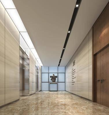 雕塑, 摆件组合, 现代, 电梯厅