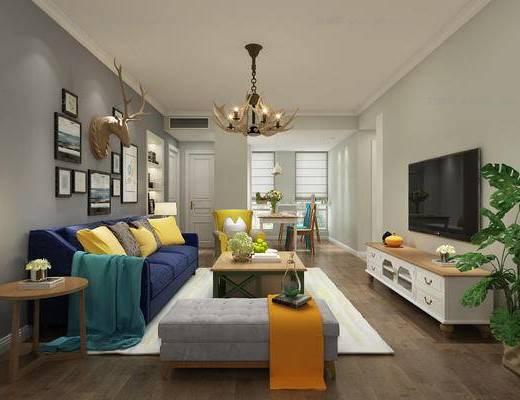 客厅, 现代客厅, 吊灯, 沙发组合, 沙发茶几组合