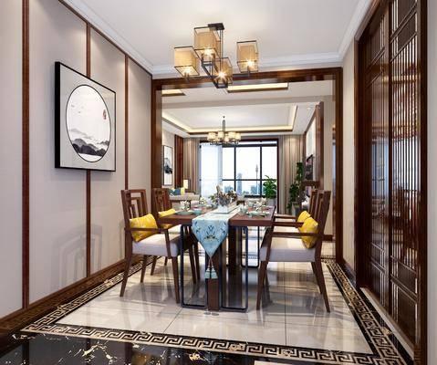 客厅, 餐厅, 多人沙发, 单人沙发, 凳子, 电视柜, 边柜, 茶几, 摆件, 装饰品, 陈设品, 装饰画, 挂画, 吊灯, 餐桌, 餐椅, 单人椅, 新中式