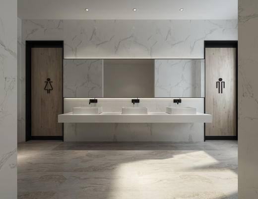 现代, 公共空间, 卫生间, 洗手间, 镜, 洗手台, 尿兜