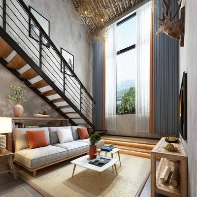 民宿客房, 起居室, 卧室, 沙发组合, 沙发茶几组合, 楼梯, 床具组合, 工业风