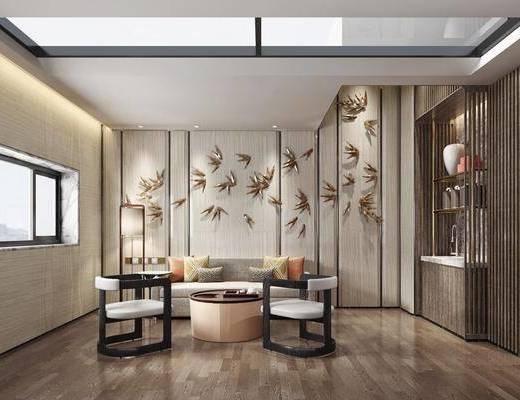 中式起居室, 椅子, 壁挂, 沙发, 落地灯, 客厅