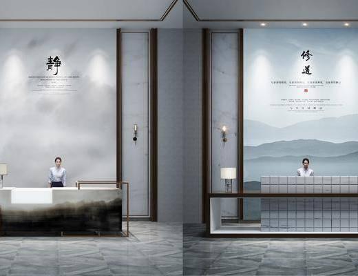 服务台, 背景墙, 台灯, 人物画, 新中式