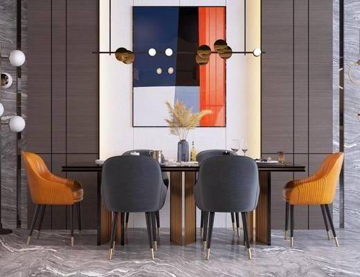 落地灯, 吊灯, 装饰挂画, 餐桌, 桌椅组合, 餐具组合