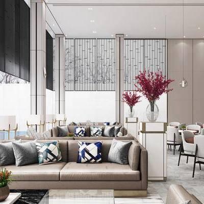 洽谈区, 会客区, 售楼处, 沙发, 现代