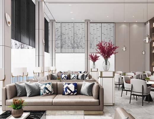 洽谈区, 会客区, 沙发组合, 售楼处