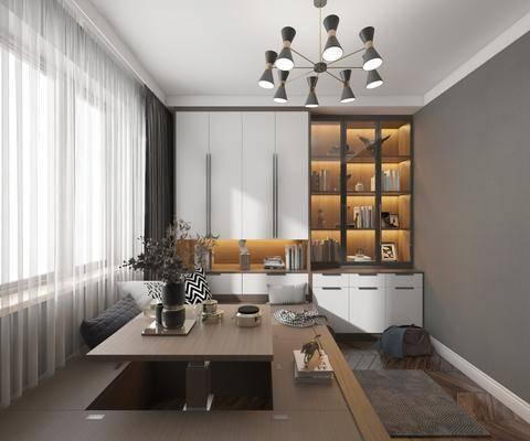 现代书房, 书柜, 吊灯, 升降桌