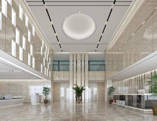 大厅, 绿植, 盆栽, 前台, 接待处, 现代