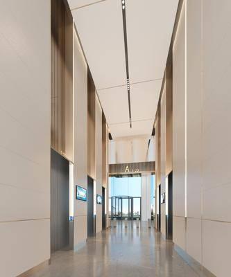 现代办公楼电梯厅