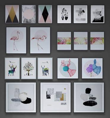 装饰画, 挂画, 现代, 抽象画, 北欧