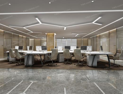 办公室, 办公区, 现代, 办公桌, 办公椅, 桌椅组合