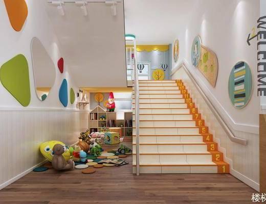 幼兒園, 樓梯間, 玩具區