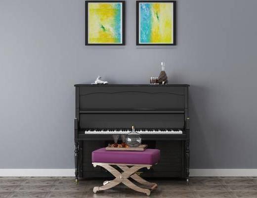 单椅, 装饰画组合, 钢琴