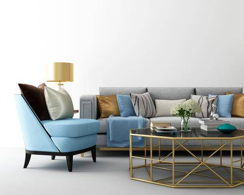 沙发, 椅子, 茶几, 台灯, 摆件