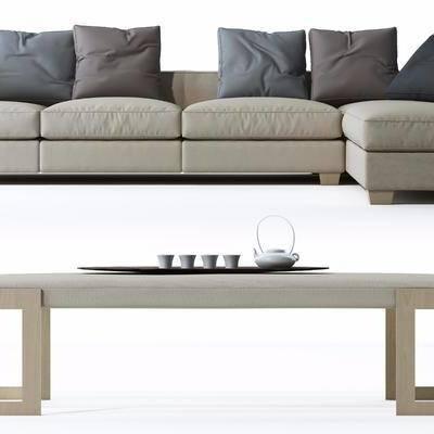 沙发组合, 脚榻, 布艺沙发, 抱枕, 现代