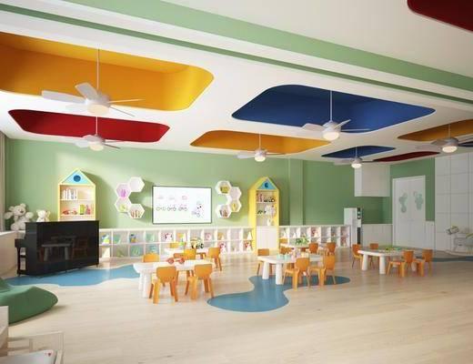 幼儿园, 活动室, 桌子组合, 凳子, 装饰柜, 摆件, 装饰品, 陈设品, 现代