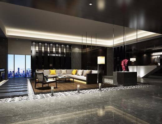 售楼处, 休息厅, 多人沙发, 茶几, 单人沙发, 落地灯, 台灯, 摆件, 装饰品, 陈设品, 前台, 吊灯, 现代