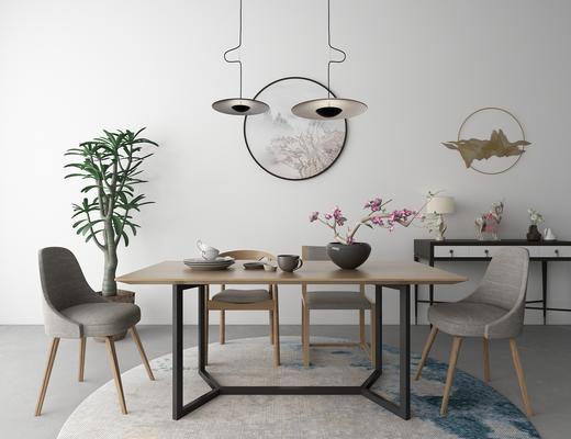 中式桌椅, 桌椅组合, 餐桌椅, 椅子, 桌子, 吊灯