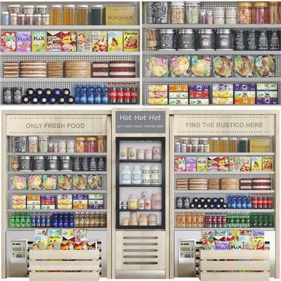 商店橱窗, 冰柜饮料, 零食蛋糕, 食物组合, 现代