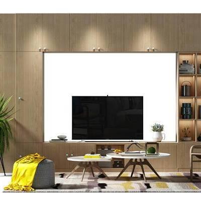 电视墙, 背景墙, 电视背景墙, 盆景, 植物, 沙发凳, 茶几, 茶几组合, 装饰柜, 电视柜, 现代, 北欧