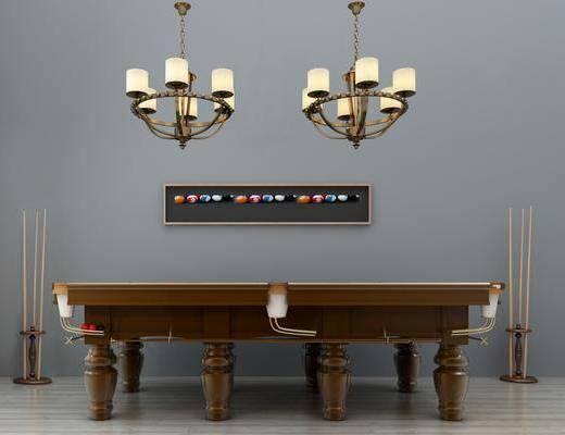 台球桌, 美式台球桌, 球杆, 吊灯, 美式吊灯, 美式