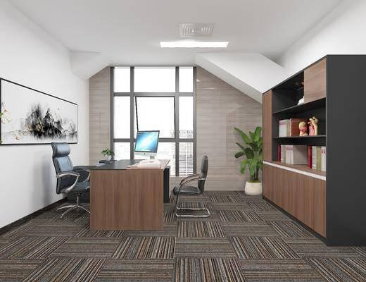现代办公室, 办公桌椅, 书柜