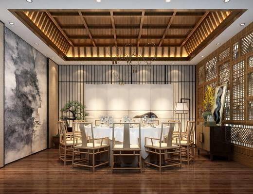 餐厅, 包房, 圆桌椅组合, 餐具组合, 边柜组合, 吊灯组合, 中式