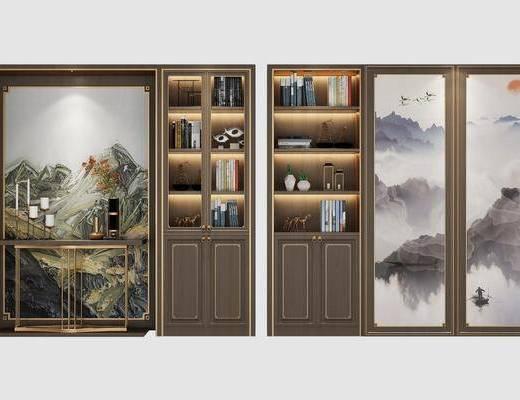 书柜组合, 装饰柜, 边柜, 摆件, 装饰品, 陈设品, 新中式