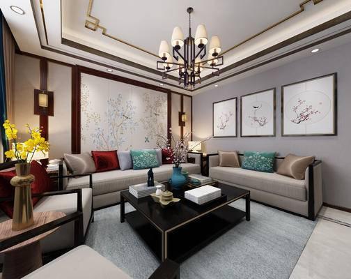 客厅, 新中式客厅, 新中式, 中式, 沙发组合, 多人沙发, 装饰画, 挂画, 吊灯, 花瓶