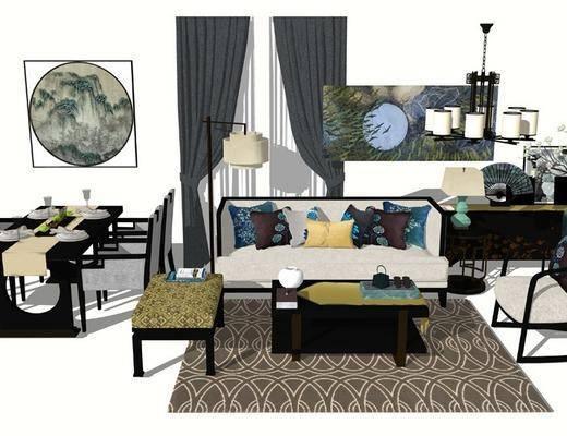 沙发组合, 餐桌, 窗帘, 落地灯, 单椅, 茶几