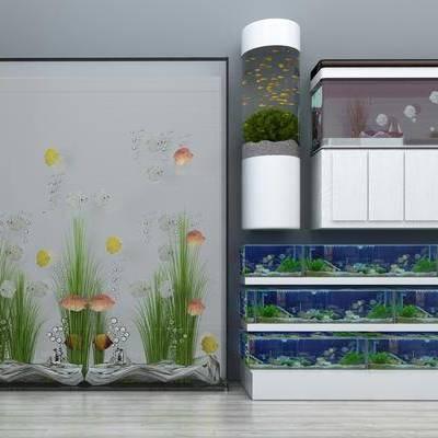 浴缸, 水, 鱼, 海草, 植物, 现代