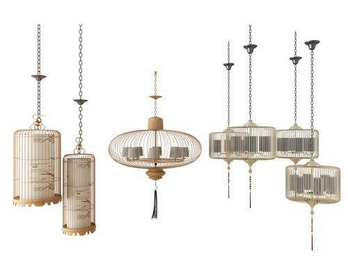 中式吊灯, 中式吊灯组合, 中式, 吊灯, 灯笼