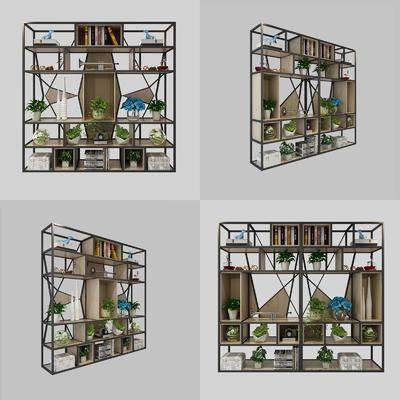 装饰架, 置物架, 陈设品, 工业风, 盆栽, 摆件, 现代